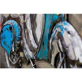 Tablou metal 3D Bleu Scooter 100x100 cm